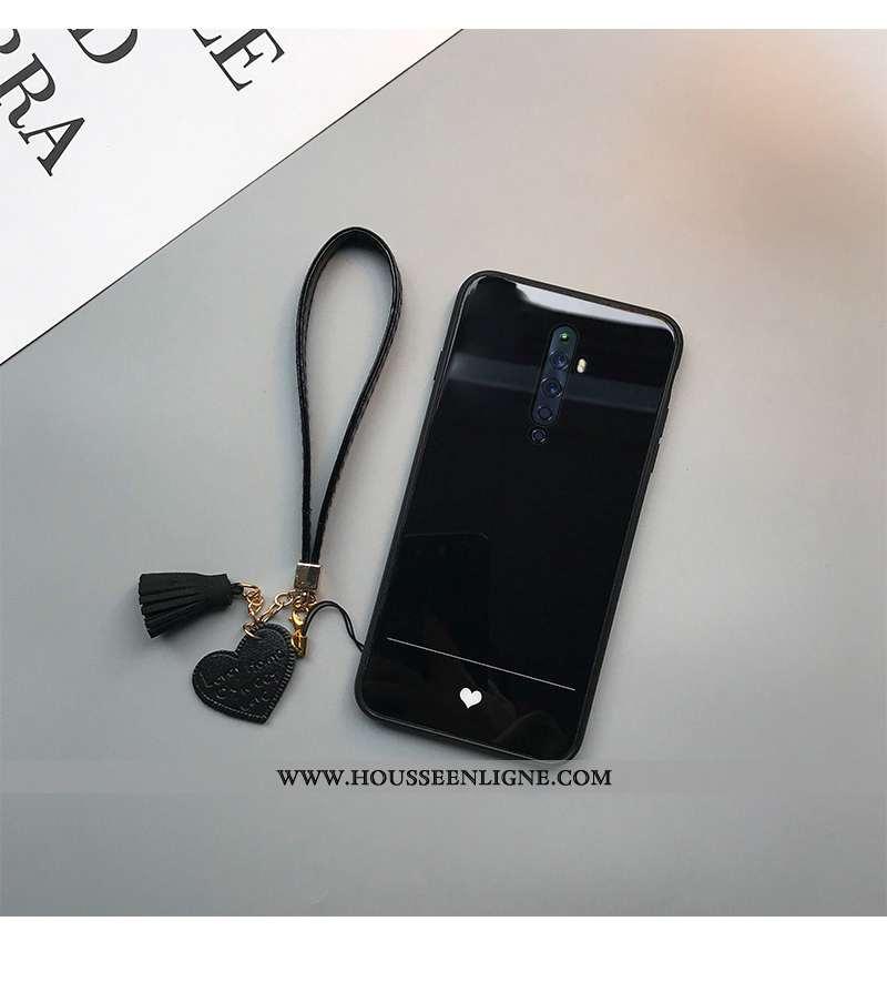 Étui Oppo Reno2 Z Légère Silicone Tendance Téléphone Portable Net Rouge Amour Noir