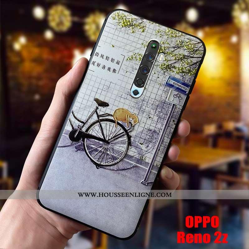 Étui Oppo Reno2 Z Silicone Délavé En Daim Charmant Coque Fluide Doux Téléphone Portable Légère Bleu