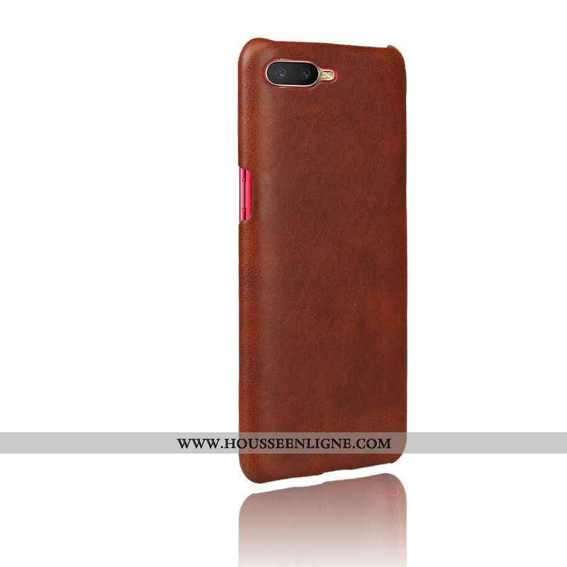 Étui Oppo Rx17 Neo Cuir Protection Coque Marron Qualité Téléphone Portable