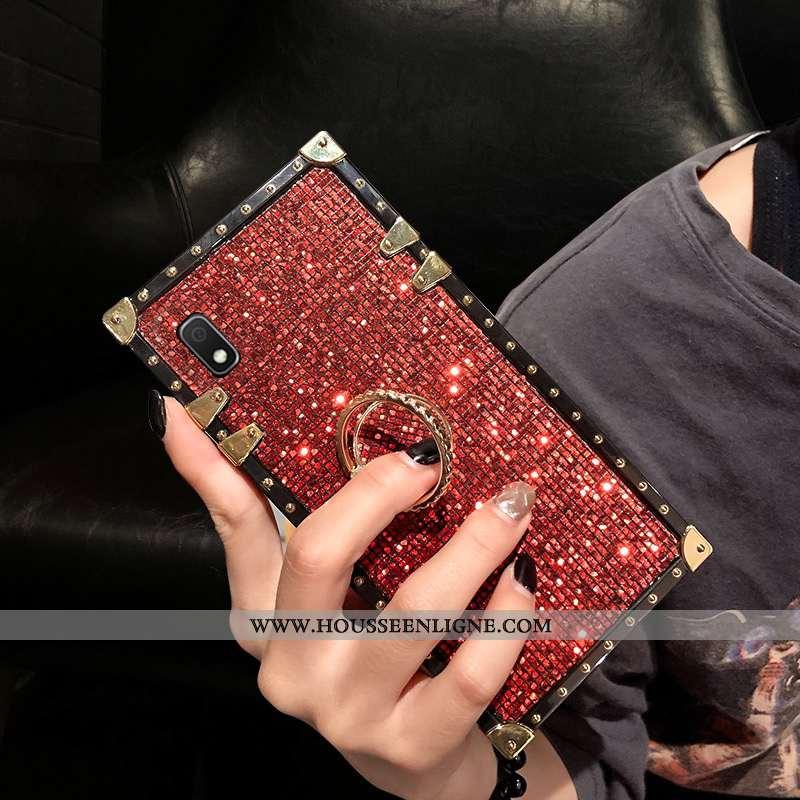 Étui Samsung Galaxy A10 Mode Incruster Strass Étoile Placage Coque Incassable Rouge