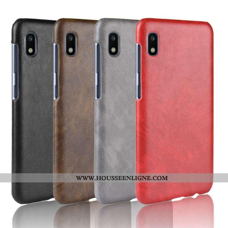 Étui Samsung Galaxy A10 Protection Cuir Coque Modèle Fleurie Téléphone Portable Litchi Rouge