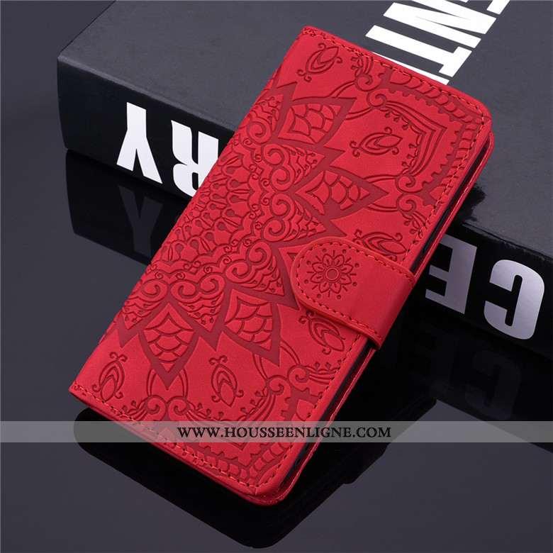 Étui Samsung Galaxy A10s Cuir Fluide Doux Incassable Housse Totem Coque Rouge