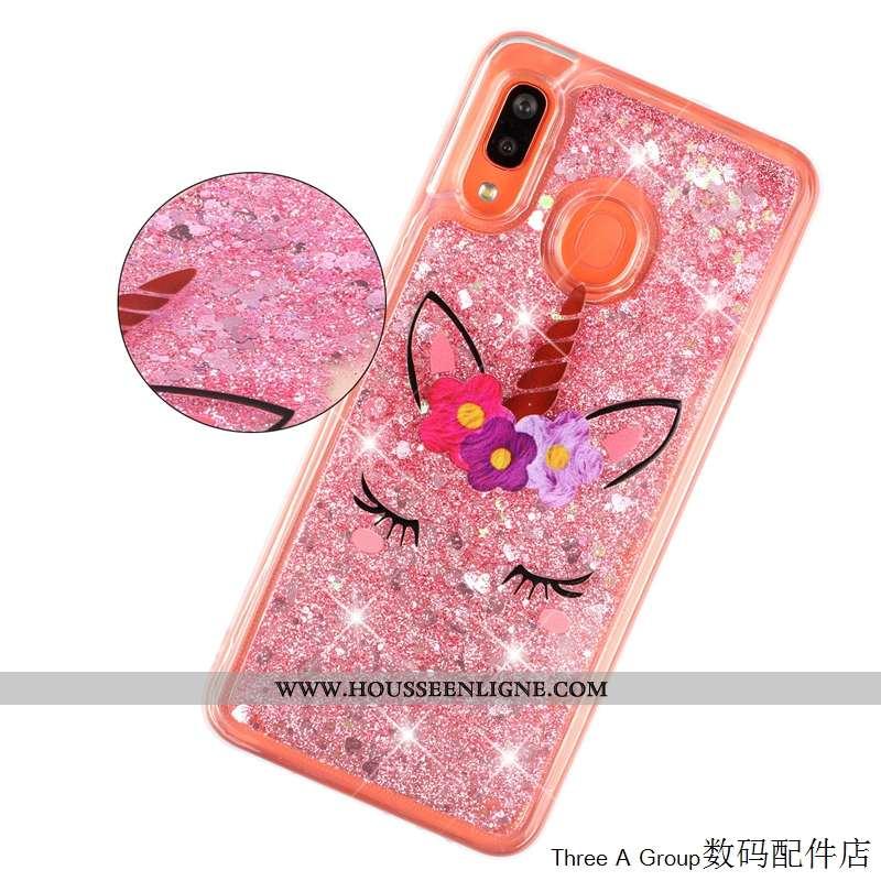 Étui Samsung Galaxy A20e Protection Charmant Quicksand Étoile Rose Incassable Coque