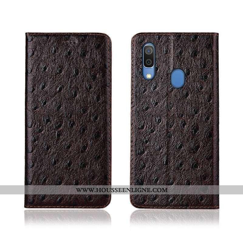 Étui Samsung Galaxy A20e Protection Cuir Véritable Téléphone Portable Marron Clamshell Silicone