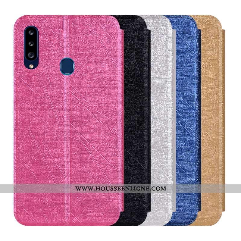 Étui Samsung Galaxy A20s Cuir Protection Coque Téléphone Portable Incassable Housse Étoile Rose