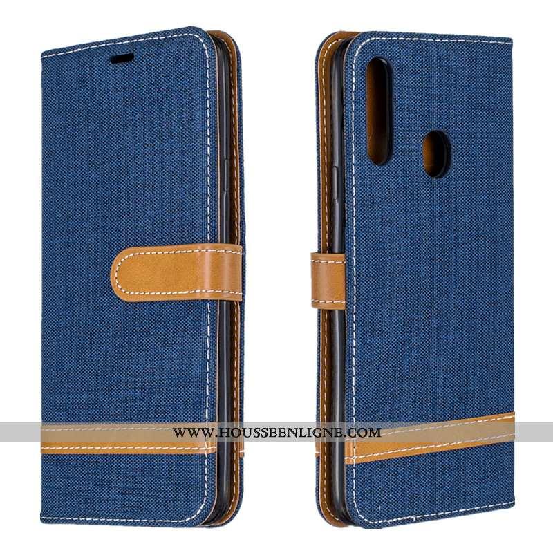 Étui Samsung Galaxy A20s Portefeuille Tendance En Denim Coque Protection Tout Compris Housse Bleu