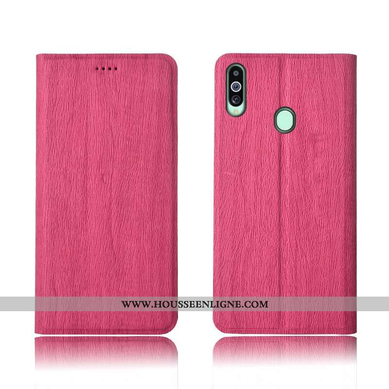 Étui Samsung Galaxy A20s Tendance Cuir Rouge Modèle Fleurie Arbres Silicone Tout Compris Rose