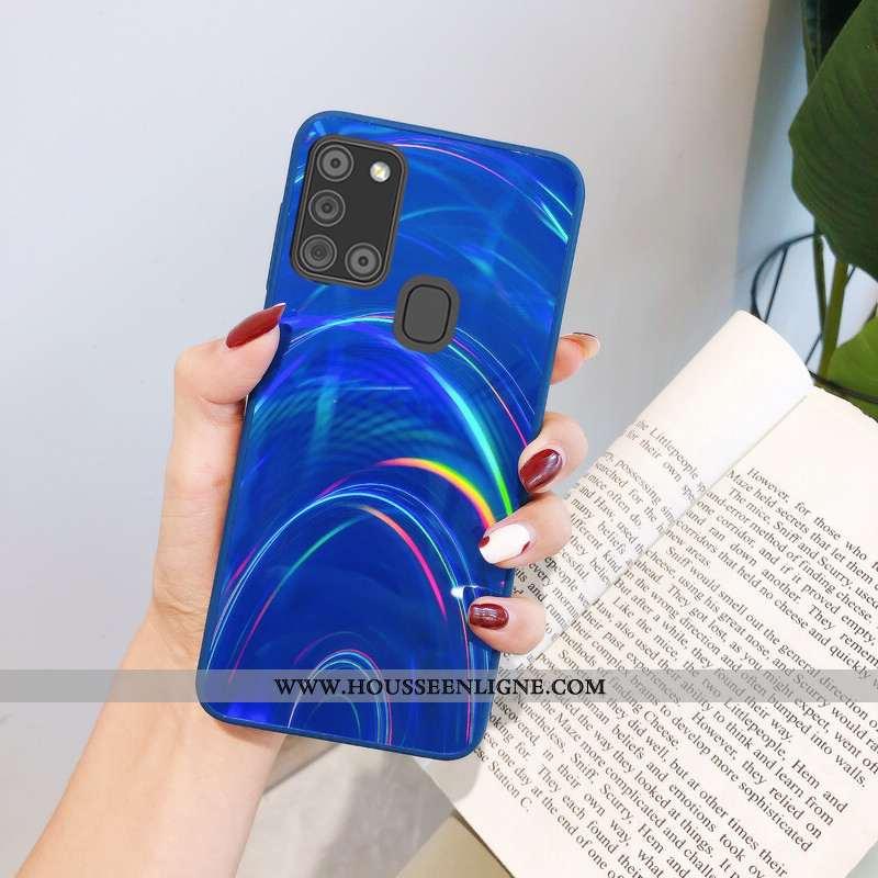 Étui Samsung Galaxy A21s Dessin Animé Tendance Silicone Fluide Doux Coque Légères Bleu