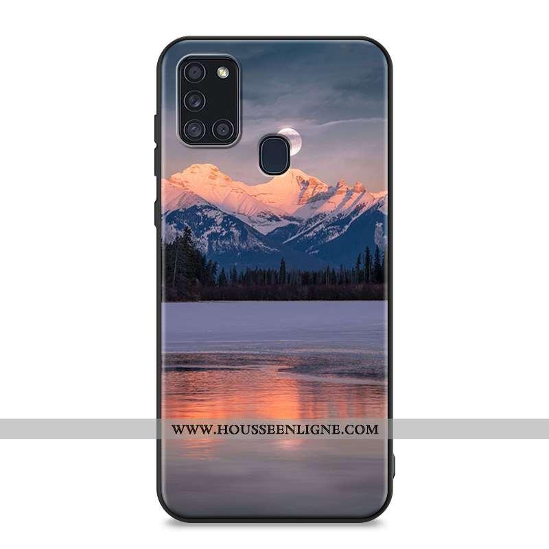 Étui Samsung Galaxy A21s Fluide Doux Silicone Personnalité Coque Vent Clair Délavé En Daim Bleu Fonc