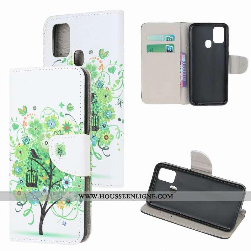 Étui Samsung Galaxy A21s Modèle Fleurie Protection Vert Téléphone Portable Étoile Coque Verte