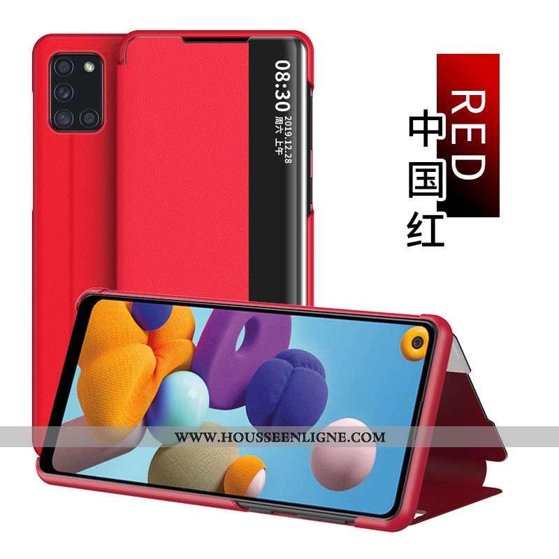 Étui Samsung Galaxy A21s Protection Cuir Étoile Housse Coque Windows Dormance Rouge