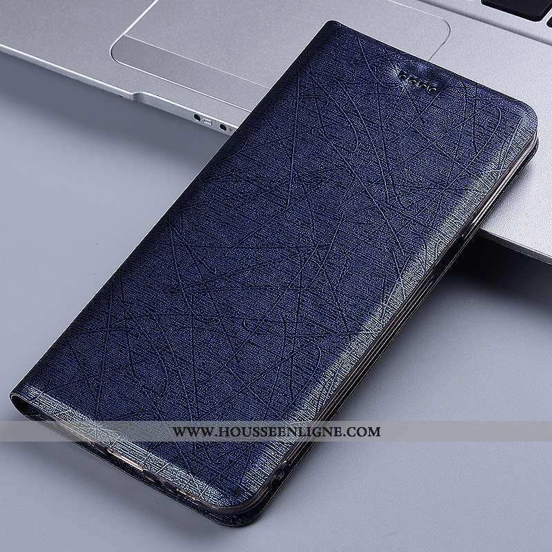 Étui Samsung Galaxy A21s Protection Cuir Coque Téléphone Portable Bleu Marin Soie Incassable Bleu Fo