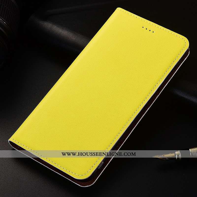 Étui Samsung Galaxy A30s Cuir Fluide Doux Coque Incassable Délavé En Daim Véritable Jaune Étoile