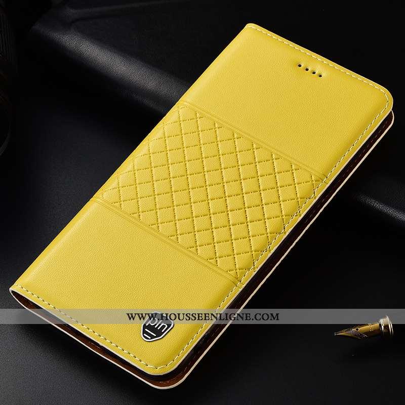 Étui Samsung Galaxy A30s Protection Cuir Véritable Incassable Plaid Jaune Étoile