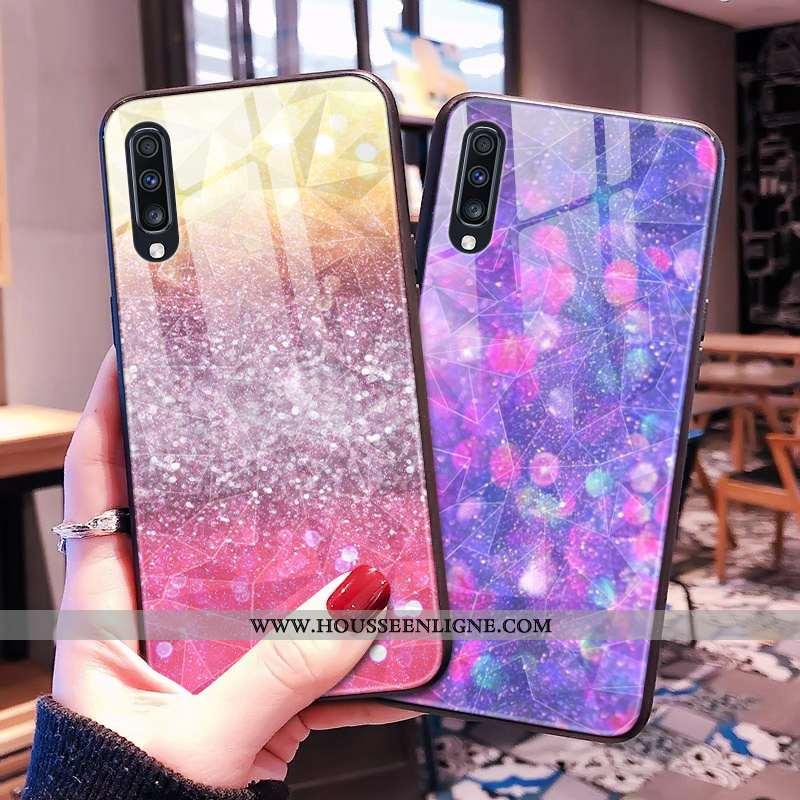 Étui Samsung Galaxy A30s Violet Losange Coque Téléphone Portable Étoile