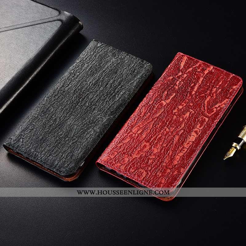Étui Samsung Galaxy A40 Délavé En Daim Cuir Véritable Fluide Doux Silicone Protection Étoile Rouge