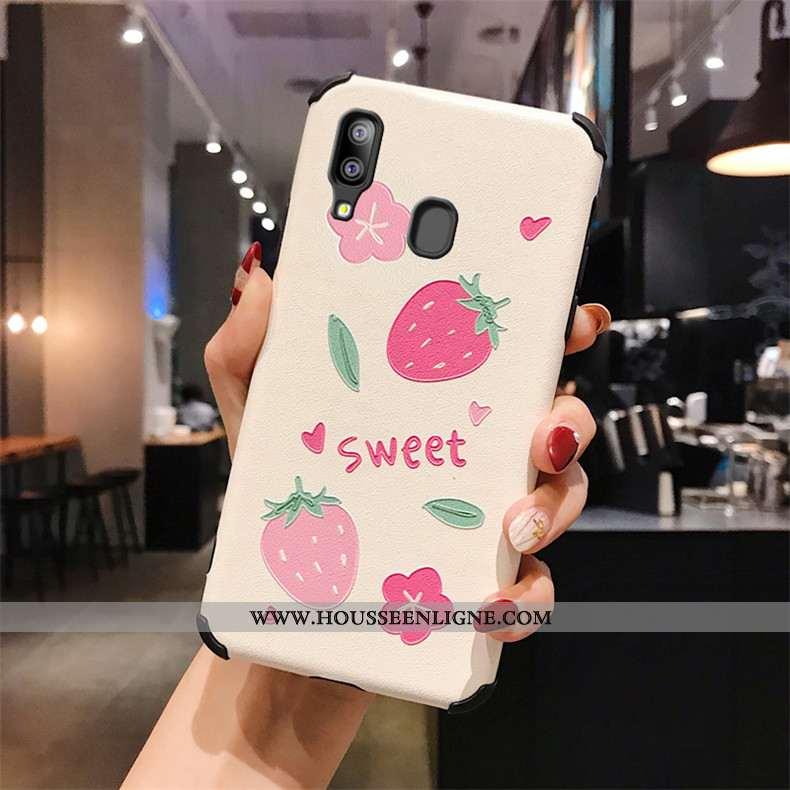 Étui Samsung Galaxy A40 Modèle Fleurie Fluide Doux Gaufrage Étoile Téléphone Portable Personnalité S