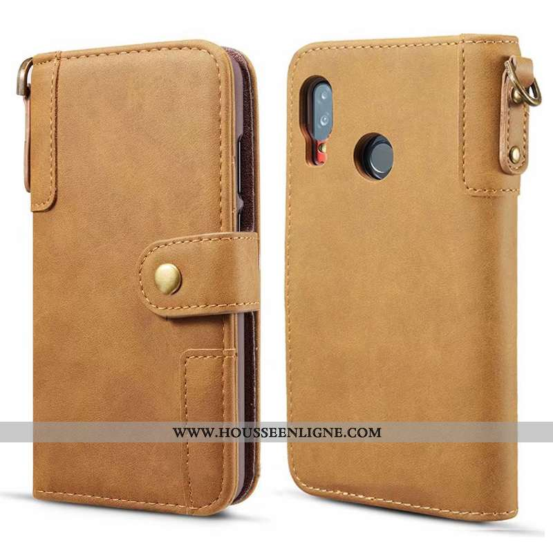 Étui Samsung Galaxy A40 Ornements Suspendus Cuir Véritable Protection Téléphone Portable Housse Manu