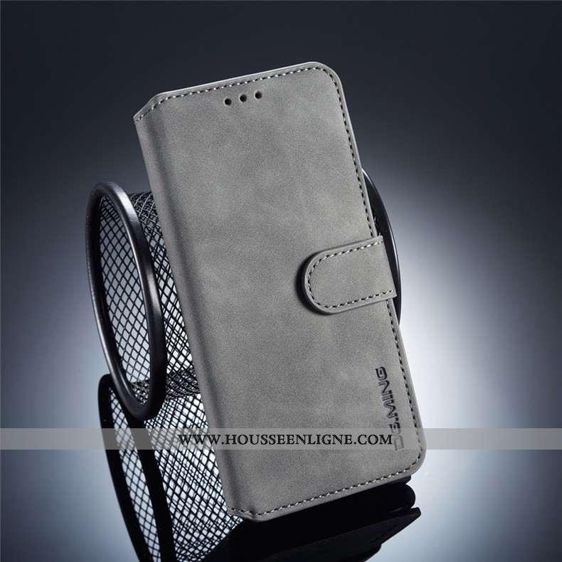 Étui Samsung Galaxy A40 Portefeuille Cuir Incassable Gris Coque Protection