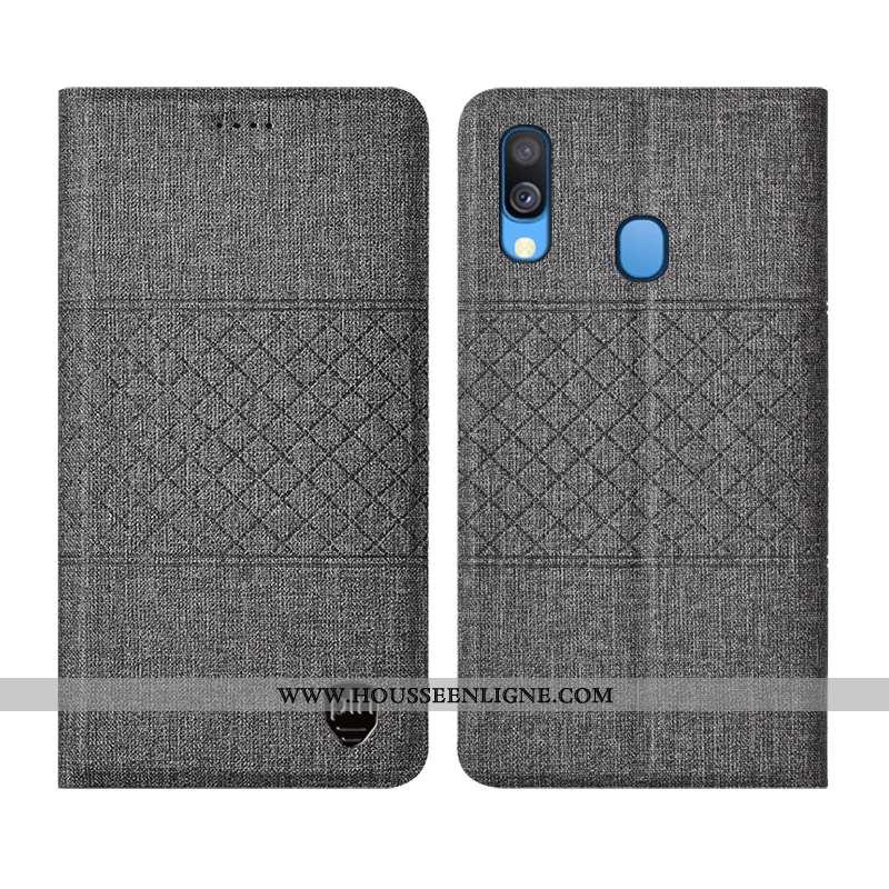 Étui Samsung Galaxy A40 Protection Cuir Coque Étoile Plaid Tout Compris Gris