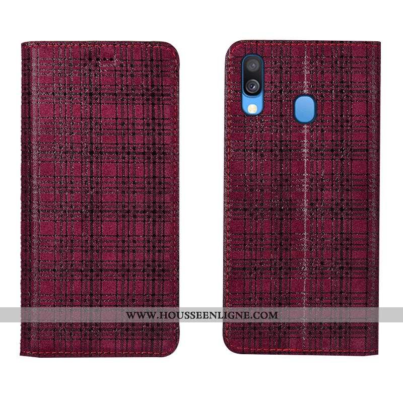 Étui Samsung Galaxy A40 Protection Cuir Véritable Étoile Vin Rouge Coque Velours Bordeaux