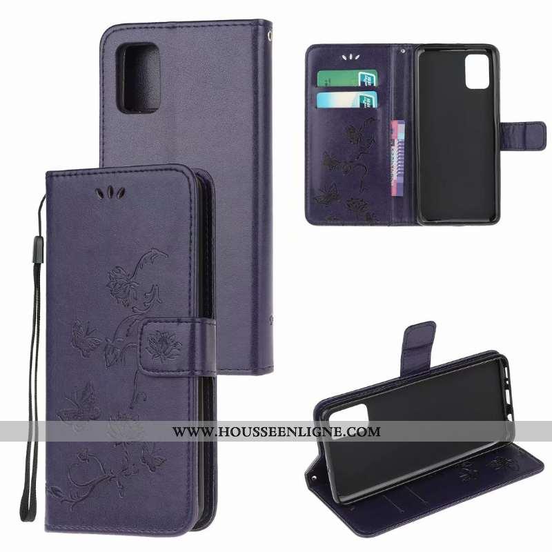 Étui Samsung Galaxy A41 Cuir Fluide Doux Papillon Clamshell Violet Fleur