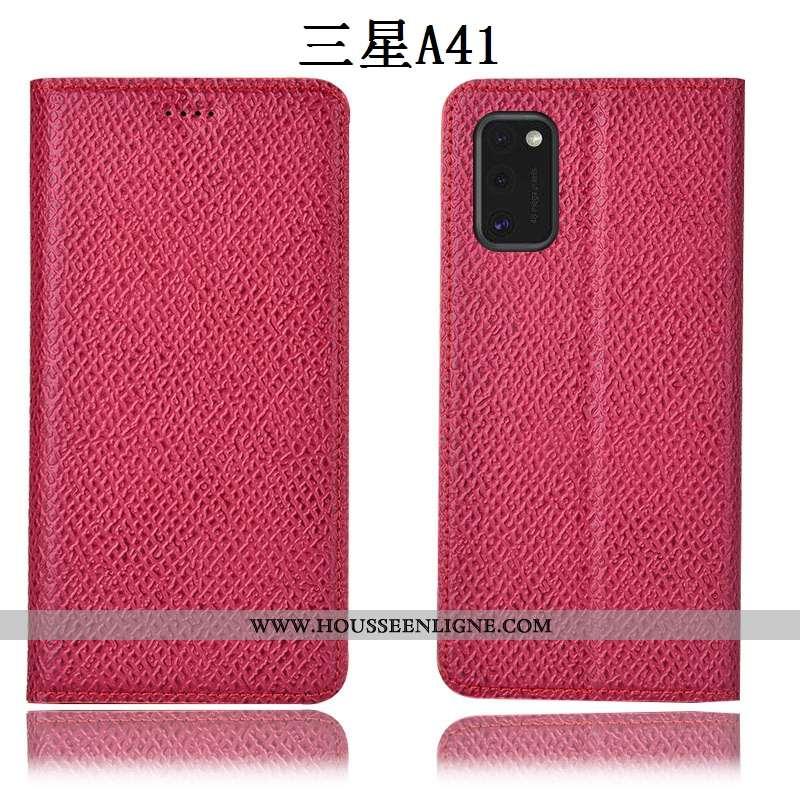 Étui Samsung Galaxy A41 Cuir Véritable Modèle Fleurie Housse Téléphone Portable Mesh Coque Rose
