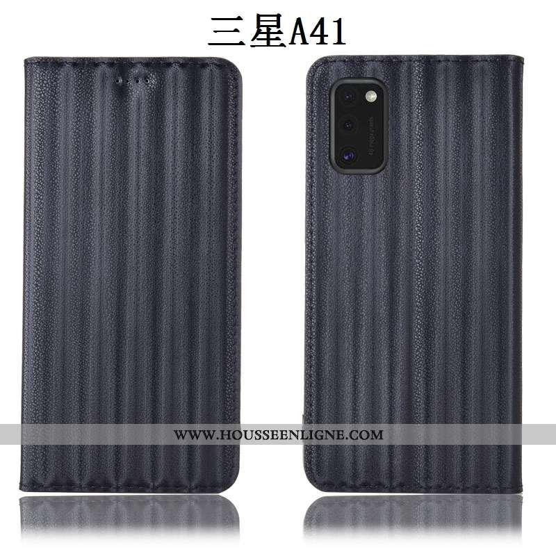 Étui Samsung Galaxy A41 Cuir Véritable Protection Dégradé Coque Tout Compris Incassable Noir