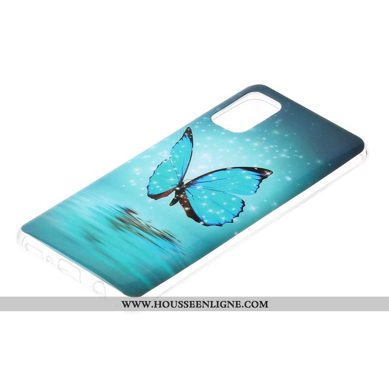 Étui Samsung Galaxy A41 Dessin Animé Bleu Incassable Téléphone Portable Lumineuses Tout Compris
