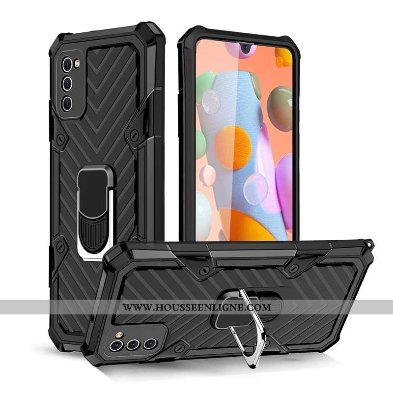 Étui Samsung Galaxy A41 Protection Noir Anneau Magnétisme Tout Compris À Bord
