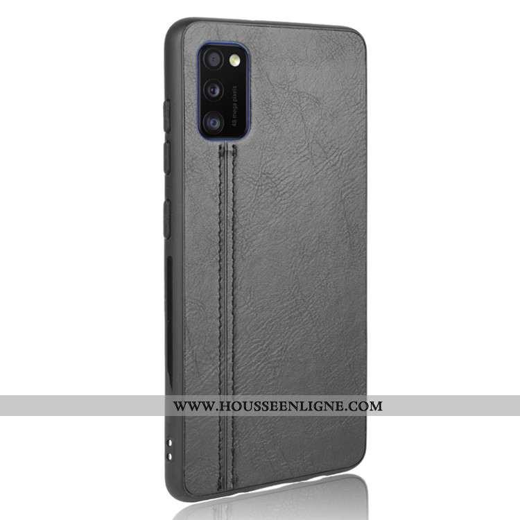 Étui Samsung Galaxy A41 Tendance Cuir Incassable Noir Protection Difficile
