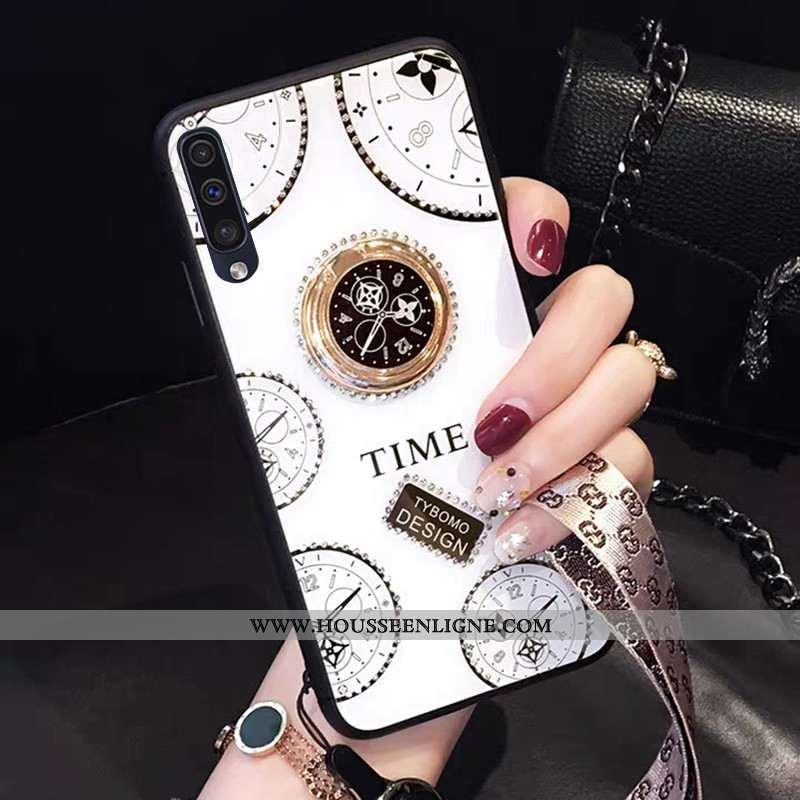 Étui Samsung Galaxy A50 Fluide Doux Luxe Créatif Personnalité Téléphone Portable Étoile Coque Blanch