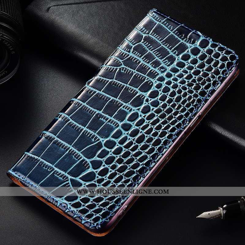 Étui Samsung Galaxy A50 Protection Cuir Véritable Crocodile Modèle Fleurie Incassable Coque Bleu