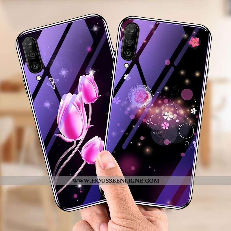 Étui Samsung Galaxy A50 Verre Dessin Animé Téléphone Portable Étoile Violet Protection