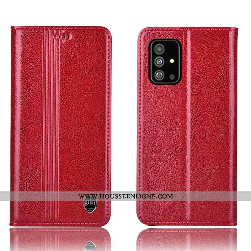 Étui Samsung Galaxy A51 Cuir Véritable Protection Rouge Téléphone Portable Housse Tout Compris