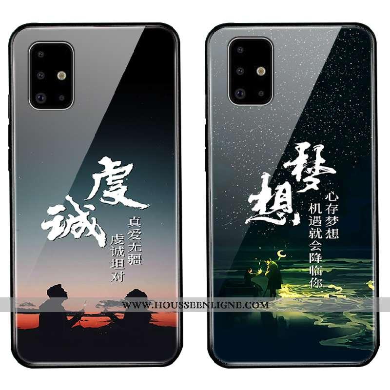 Étui Samsung Galaxy A51 Personnalité Tendance Étoile Protection Miroir Coque Délavé En Daim Noir