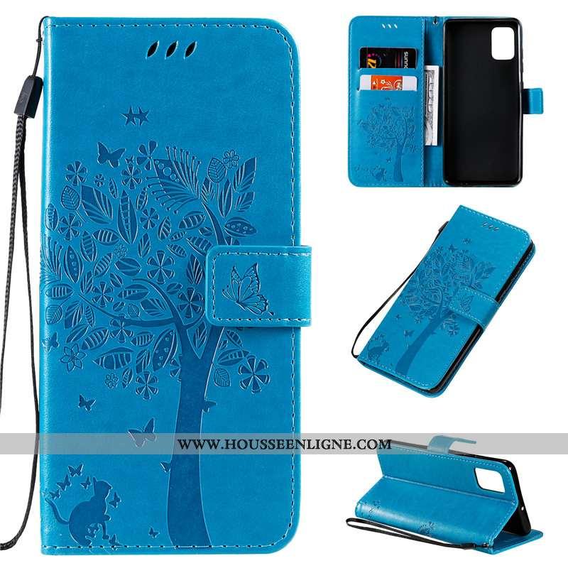 Étui Samsung Galaxy A51 Protection Cuir Clamshell Bleu Incassable Téléphone Portable Étoile