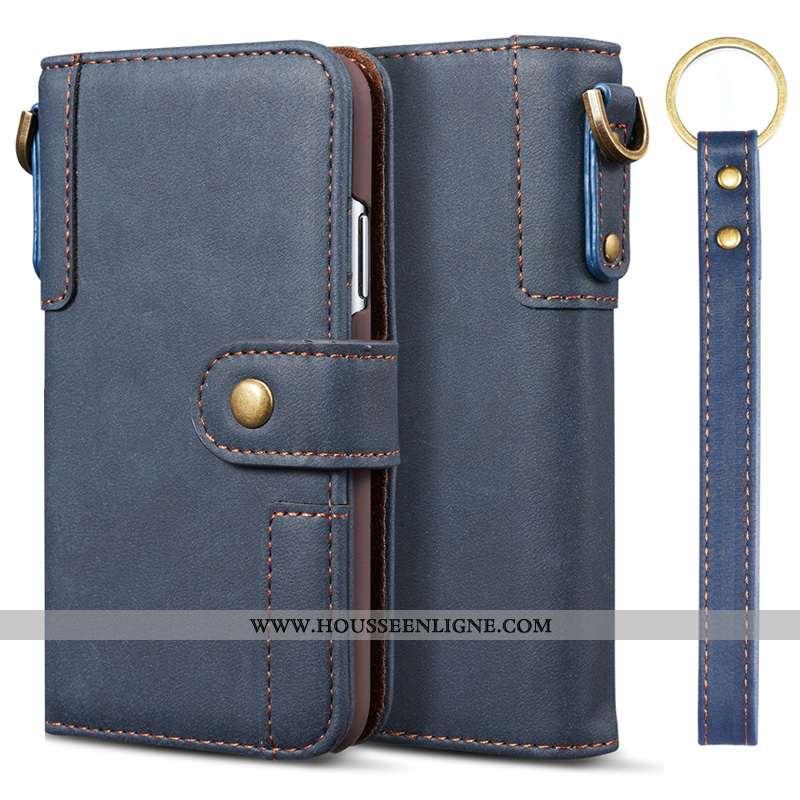 Étui Samsung Galaxy A51 Protection Cuir Véritable Téléphone Portable Bleu Marin Housse Portefeuille