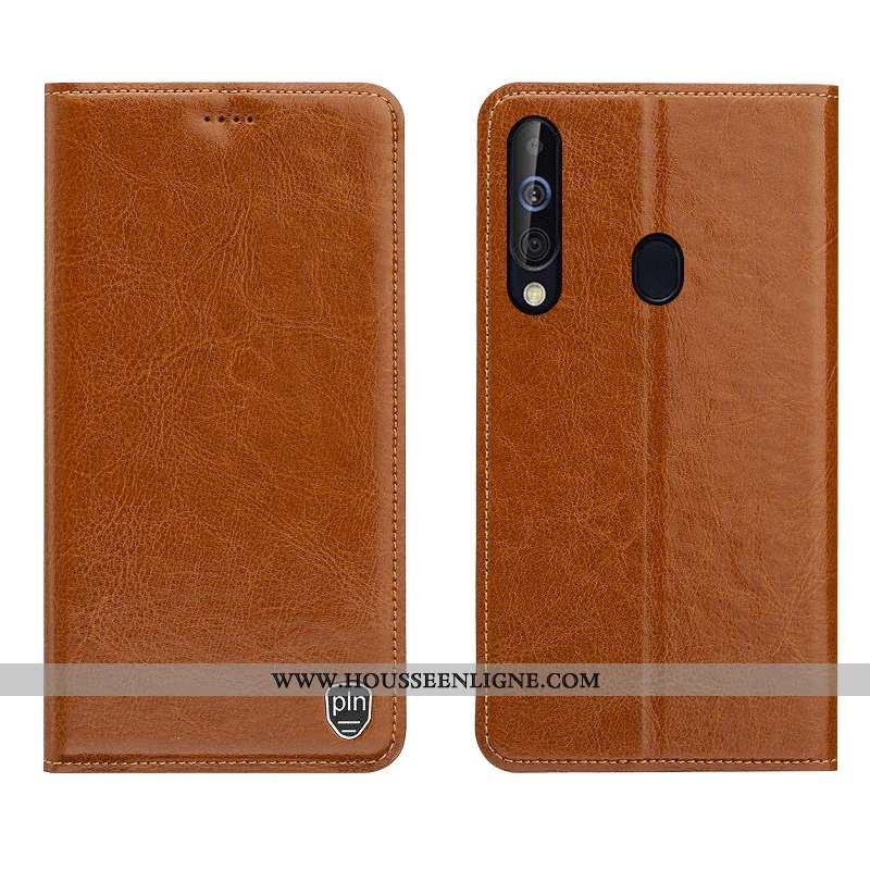 Étui Samsung Galaxy A60 Cuir Modèle Fleurie Coque Téléphone Portable Véritable Étoile Marron