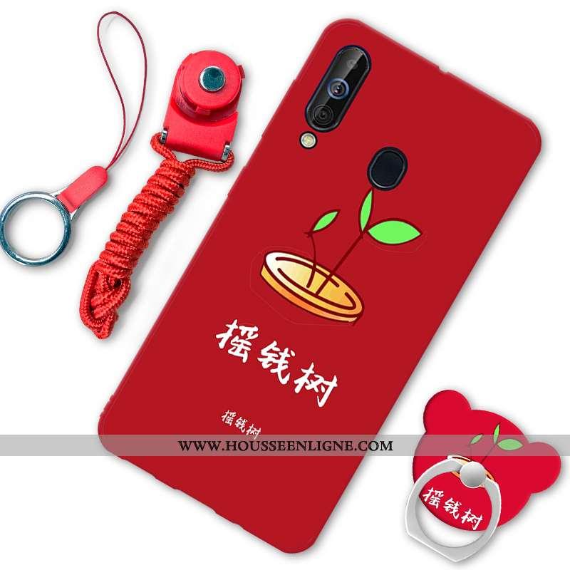 Étui Samsung Galaxy A60 Fluide Doux Téléphone Portable Rouge Incassable Étoile Coque