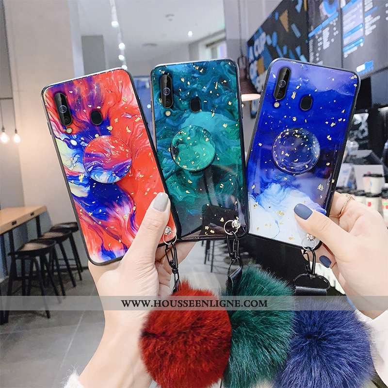 Étui Samsung Galaxy A60 Silicone Protection Support Coque Bleu Incassable Étoile