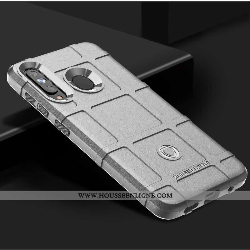 Étui Samsung Galaxy A60 Silicone Protection Trois Défenses Argent Délavé En Daim Modèle Fleurie Étoi