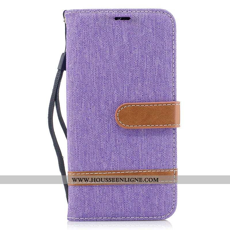 Étui Samsung Galaxy A70 Cuir Protection Téléphone Portable Housse En Denim Coque Portefeuille Violet