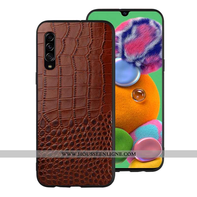 Étui Samsung Galaxy A70 Cuir Véritable Tendance Tout Compris Coque Cuir Modèle Fleurie Marron