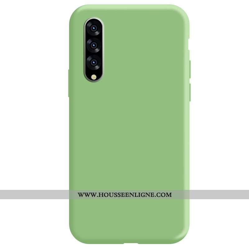 Étui Samsung Galaxy A70 Fluide Doux Silicone Coque Étoile Vert Couleur Unie Téléphone Portable Verte