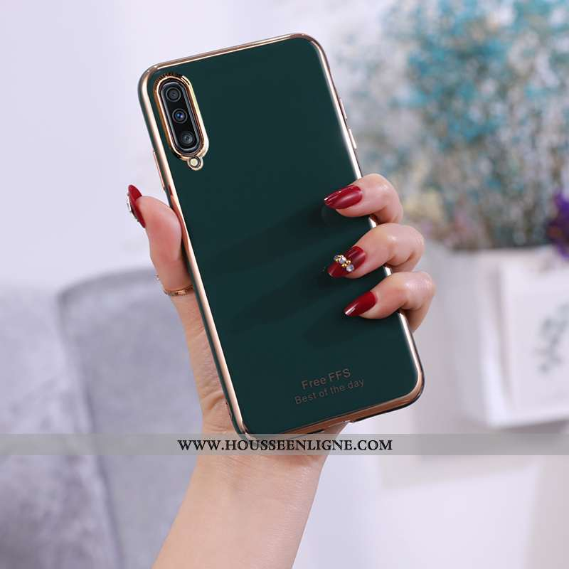 Étui Samsung Galaxy A70 Légère Fluide Doux Ultra Gris Incassable Protection Coque Verte