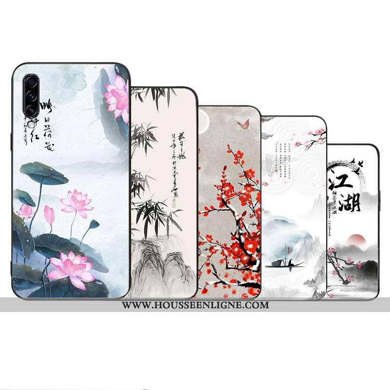 Étui Samsung Galaxy A70s Créatif Vintage Étoile Style Chinois Fluide Doux Incassable Blanche
