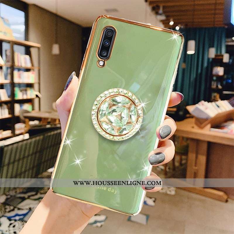 Étui Samsung Galaxy A70s Fluide Doux Luxe Gris Placage Téléphone Portable Tendance Business Verte