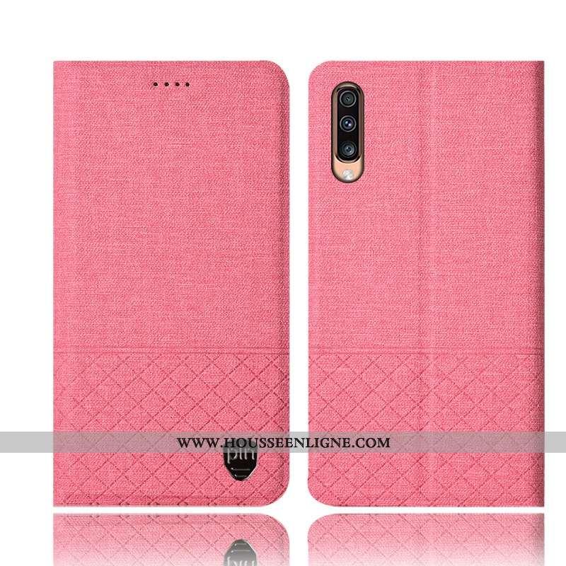 Étui Samsung Galaxy A70s Protection Cuir Étoile Tout Compris Téléphone Portable Lin Rose
