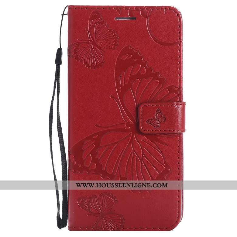 Étui Samsung Galaxy A70s Protection Cuir Orange Téléphone Portable Coque Fleurs De Papillons